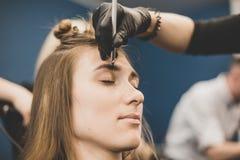Wenkbrauw het verven De meester schildert wenkbrauwen met henna aan een mooi meisje, schildert met een borstel in de salon van ee stock afbeelding