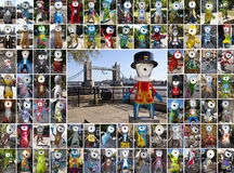 Wenlock and Mandeville Olympic 2012 Mascots. A Montage of 81 Wenlock and Mandeville statues in London - Wenlock and Mandeville were the London Olympic 2012 Royalty Free Stock Photos