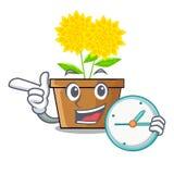 Wenn die Uhrdahlienblume in der Karikatur lokalisiert ist vektor abbildung