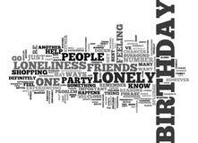 Wenn Sie auf Ihrer Geburtstags-Wort-Wolke einsam sind Stockfotografie