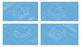 Wens modernos isométricos da casa do vetor quatro lados ilustração stock