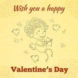 Wens u een gelukkige de groetkaart van de Valentijnskaartendag Stock Fotografie