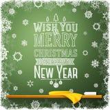 Wens u vrolijke Kerstmis en een gelukkig nieuw jaar Stock Afbeelding