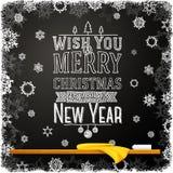 Wens u vrolijke Kerstmis en gelukkig een nieuw jaar Stock Fotografie