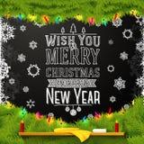 Wens u vrolijke Kerstmis en gelukkig een nieuw jaar Stock Afbeeldingen
