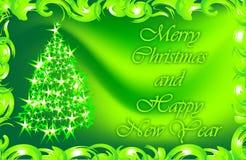Wensen voor Kerstmis en het Nieuwjaar Kerstman Klaus, hemel, vorst, zak Gift Stock Foto