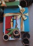 Wensen Vrolijke Kerstmis en Gelukkig Nieuwjaar Stock Afbeeldingen