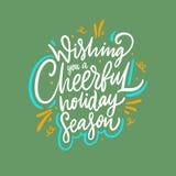 Wensend u een vrolijk vakantieseizoen Vectordieillustratie op groene achtergrond wordt ge?soleerd stock illustratie
