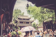 Wenshu-Kloster, Chengdu, China Stockbilder