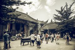 Wenshuklooster, Chengdu, China royalty-vrije stock foto