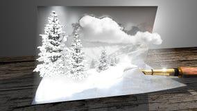 Wenskaart met sneeuwbergen die uit de prentbriefkaar komen Royalty-vrije Stock Foto's
