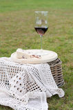 Wensleydale cheese with cranberries and wine Stock Photography