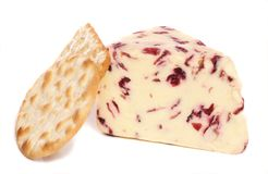 Wensleydale and Cranberry cheese and biscuits Royalty Free Stock Photography