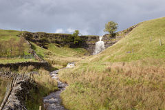 Wensleydale, UK. Small waterfall and overcast sky in Wensleydale, Yorkshire Royalty Free Stock Photo
