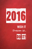 2016, wenst het, droomt het, doet het woorden op rode document achtergrond Royalty-vrije Stock Afbeelding