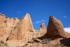 Blue sky white clouds and colorful Wensu Grand Canyon in Autumn. Wensu Grand Canyon in Wensu County, Northwest China`s Xinjiang Uygur Autonomous Region, is a stock images