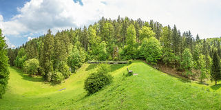 Wental valley reservoir dam panorama, Swabian Jura Stock Image