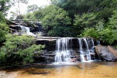 Wentworth Falls. The name really reflects it, the falls is worth to see, this is when visited on dry season, the water flows is bigger during wet season Royalty Free Stock Image