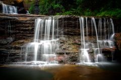 Wentworth Falls Australia. Waterfall fed by the Jamison Creek, near the town of Wentworth Falls in the Blue Mountains Australia. This is part of the upper falls stock image
