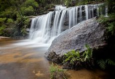 Wentworth falls. A long exposure of waterfalls, taken at Wentworth Falls in the Blue Mountains, near Sydney Australia Stock Photo