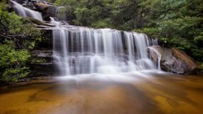 Wentworth falls. A long exposure of waterfalls, taken at Wentworth Falls in the Blue Mountains, near Sydney Australia Royalty Free Stock Photography