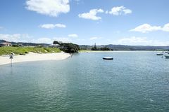 Wentworth River Mouth Estuary à la péninsule Nouvelle-Zélande NZ de Whangamata Coromandel Photos stock