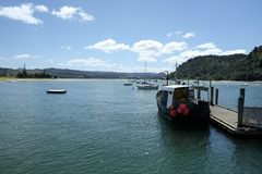 Wentworth River Mouth på den Whangamata Coromandel halvön Nya Zeeland NZ Royaltyfri Fotografi