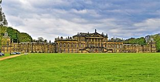 Wentworth Woodhouse in Spring. Taken from a significant distance in order to capture the entire length of Wentworth Woodhouse within one shot. The East facade Royalty Free Stock Photo