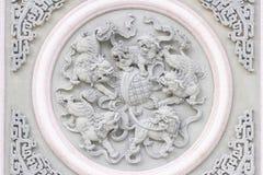 Wenwu美好的墙壁雕塑在文武庙的在埔里县附近的日月潭 免版税库存图片