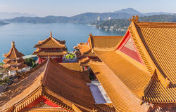 Wenwu temple at Sun Moon Lake, Taiwan. View from the top of the Wenwu temple at Sun Moon Lake, Taiwan royalty free stock image