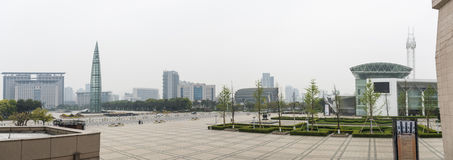 Wenzhou city government building and Century square and Wenzhou science and technology museum Royalty Free Stock Image