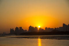 Wenzhou Oujiang sunrise Royalty Free Stock Images