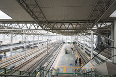 Wenzhou south railway station platform Stock Images