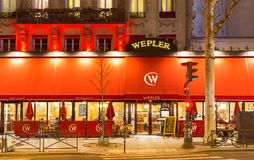 Wepler, the largest oyster house in Paris, located between Montmartre and Pigalle, this brasserie remains a must to Paris lovers. Paris, France-17 February Stock Photo