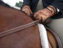 Wer ist in der Steuerung? Pferden- und Mitfahrerauszug. lizenzfreies stockfoto