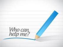 Wer mir helfen kann Mitteilungsillustrationsdesign Lizenzfreie Stockfotos