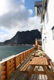 Weranda z pięknym widokiem Lofoten Wyspy, Norwegia Zdjęcie Stock