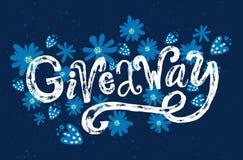 Werbegeschenkwort Kundenspezifische raue Typografie mit Schmutzbeschaffenheit auf blauem Hintergrund mit Blumen Rüschenfahne Stockfotografie