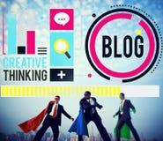 Werbekonzeption des Blog-Blogging Medien-Mitteilungs-Sozialen Netzes Lizenzfreie Stockbilder