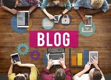 Werbekonzeption des Blog-Blogging Medien-Mitteilungs-Sozialen Netzes stockbild