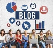 Werbekonzeption des Blog-Blogging Medien-Mitteilungs-Sozialen Netzes Stockfotografie