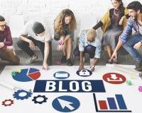 Werbekonzeption des Blog-Blogging Medien-Mitteilungs-Sozialen Netzes Lizenzfreies Stockbild