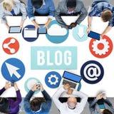 Werbekonzeption des Blog-Blogging Medien-Mitteilungs-Sozialen Netzes Lizenzfreies Stockfoto