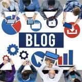 Werbekonzeption des Blog-Blogging Medien-Mitteilungs-Sozialen Netzes Stockfoto