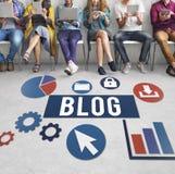 Werbekonzeption des Blog-Blogging Medien-Mitteilungs-Sozialen Netzes Lizenzfreie Stockfotografie