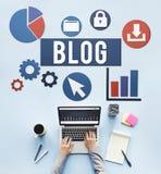 Werbekonzeption des Blog-Blogging Medien-Mitteilungs-Sozialen Netzes Stockfotos