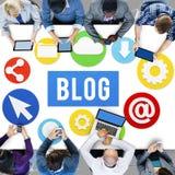 Werbekonzeption des Blog-Blogging Medien-Mitteilungs-Sozialen Netzes Lizenzfreie Stockfotos