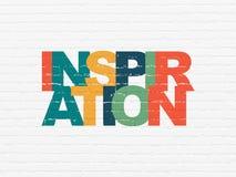 Werbekonzeption: Inspiration auf Wandhintergrund stockfotografie