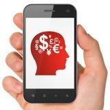 Werbekonzeption: Kopf mit Finanzsymbol an vektor abbildung