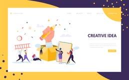 Werbetexter-Creative Pencil Idea-Landungs-Seite Geschäfts-Kreativitäts-Konzept für Website oder Webseite Blog-Werbung vektor abbildung